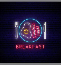 Neon breakfast sign fried egg and bacon vector