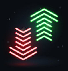 Neon up and down arrows on dark background vector