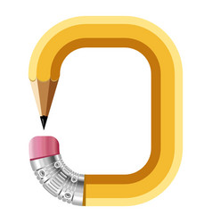 Number zero pencil icon cartoon style vector