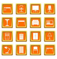 Office furniture icons set orange vector