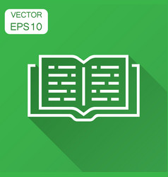 Open book icon in flat style text book with long vector