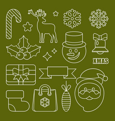 outline christmas and new years icons vector image