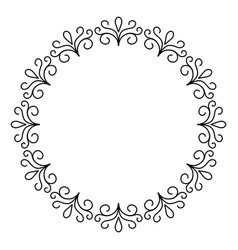 outline decorative circle frame design monochrome vector image