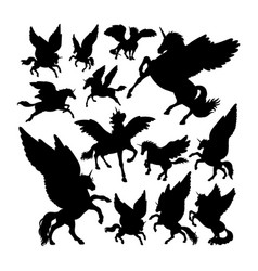pegasus ancient creature mythology silhouettes vector image