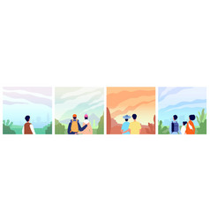 people looking landscape adventure in mountains vector image