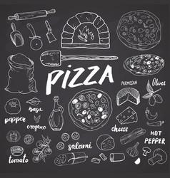 pizza menu hand drawn sketch set pizza vector image