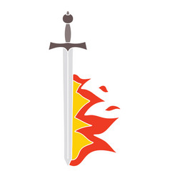 Quirky hand drawn cartoon flaming sword vector