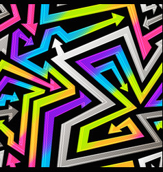 rainbow geometric arrows seamless pattern vector image