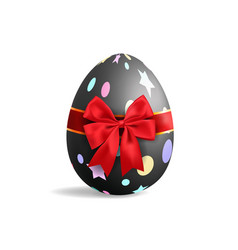 Realistic black easter egg tied of red ribbon vector
