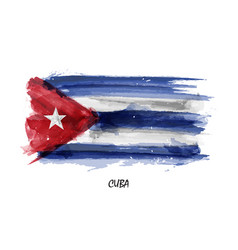 Realistic watercolor painting flag of cuba vector