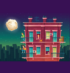 residential multi-storey apartment at night vector image