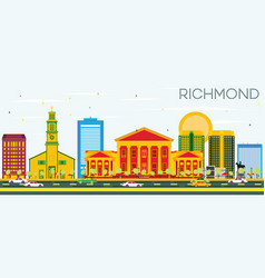 richmond skyline with color buildings and blue sky vector image