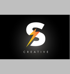 S letter logo design with lighting thunder bolt vector