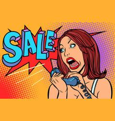 sale discounts woman screams in phone vector image