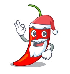 santa red chili pepper isolated on mascot vector image