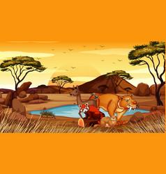 Scene with wild animals in field vector