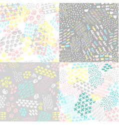 set hand painted seamless pattern vector image