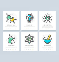 set of science and research colored vector image