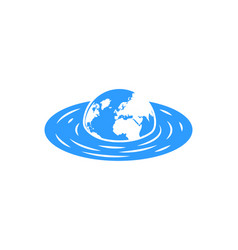 sinking planet earth with continents concept vector image