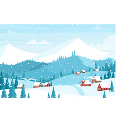 snowing in mountains landscape flat vector image