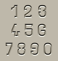 Stone carved font numbers vector