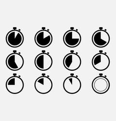 stopwatch set icon eps 10 vector image