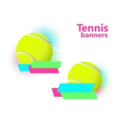 Tennis halftone banners vector image