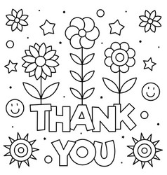 Thank you coloring page black and white vector