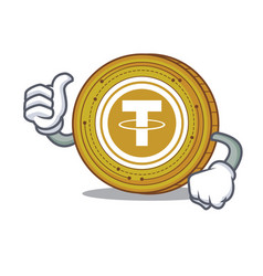 Thumbs up tether coin character cartoon vector