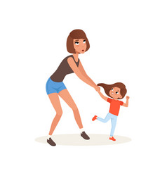 tired mother and her daughter who wants to play vector image