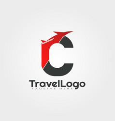 Travel agent logo design with initials c letter vector