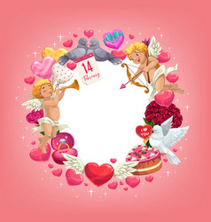 valentines day love holiday hearts and gifts frame vector image