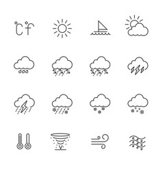 weather line icons vector image