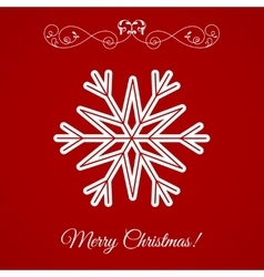 White Snowflake Icon Over Red Background vector