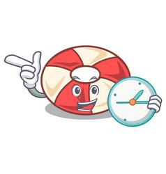With clock swim tube character cartoon vector
