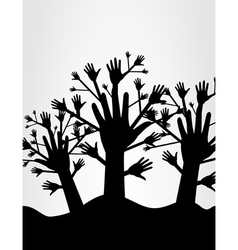 wood of hands vector image