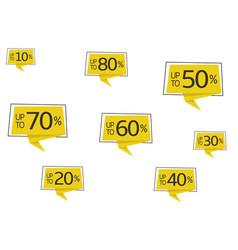 Yellow promo sticker set vector