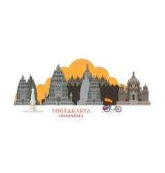 Yogyakarta indonesia architecture landmarks vector