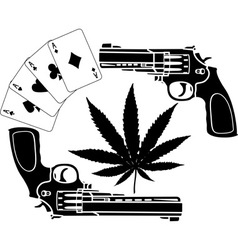 cards hemp and two pistols stencil vector image