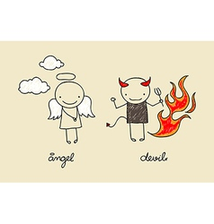 Cute angel and devil doodle vector image