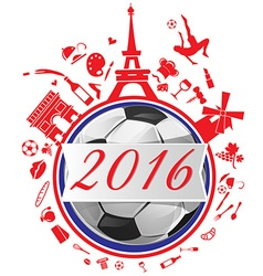 france symbol with flag and soccer ball vector image vector image