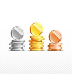 gold silver bronze coins set isolated on vector image