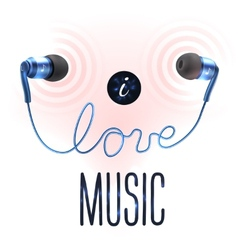 Headphones with love letters vector image