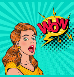pop art surprised girl with open mouth vector image