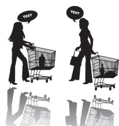 two girls shop vector image vector image