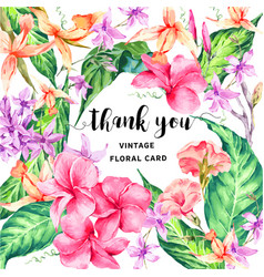 vintage floral tropical thank you card vector image