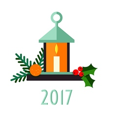 Christmas candle on a light background vector image