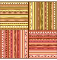 Colorful ethnic seamless pattern design set vector image vector image