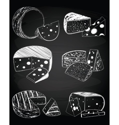 Vintage cheese on the chalkboard background vector