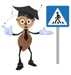 Ant teacher explains rules of road Pedestrian vector image vector image